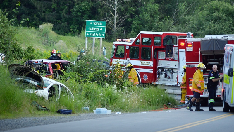 Police, along with EHS and the Wolfville Fire Department, responded to the collision between a pickup truck and car around 6:14 p.m. at the intersection of Ridge Road and Grand Pré Road. (Photo courtesy: Bill Roberts)