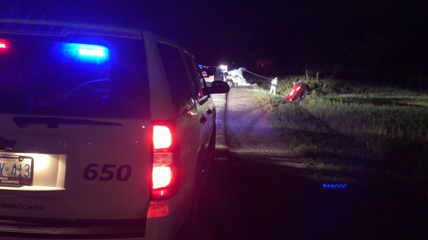 Car crashes into a ditch in Innisfil after an alleged carjacking