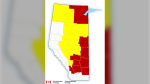 Severe thunderstorm watches were issued for parts of central Alberta Monday. (Environment Canada)