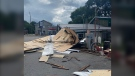 A roof from a nearby building was ripped off and flew into the parking lot of McCormick's Country Store in Camden East, Ont. Sunday, Aug. 2, 2020. (Photo courtesy of Lindsay Noyes)