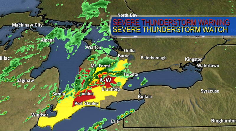 Waterloo Region and surrounding areas are under a severe thunderstorm warning on Monday, Aug. 3, 2020.