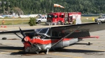 A damaged plane is pictured in Nelson, B.C., on Monday, Aug. 3, 2020. (Photo from Jesse Adams)