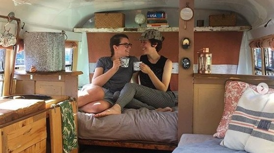 Newlyweds Emily Sehl and Jane Ozkowski embark on a tiny home passion project after their travel plans were cancelled. (Source: CampLoveSick / Instagram)