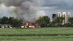 Fire broke out at a rural property north of Edmonton on Monday. (Sean McClune/CTV News Edmonton)Fire
