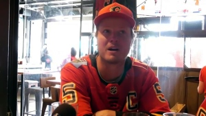 A few Flames fans gathered on the Red Mile Monday to watch the Flames lose to the Jets, but it was far from busy.  Fans blamed everything from the holiday long weekend to the fact that the NHL playoffs are being played in August.