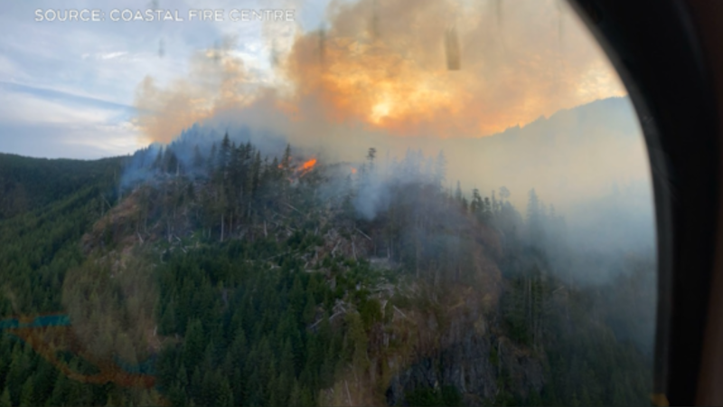 Aerial view of Green Mountain fire on Vancouver Island (Source: Coastal Fire Centre)