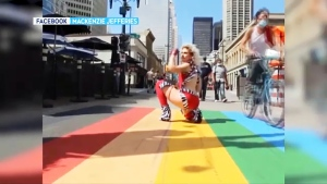 Jordan May, aka Duke Carson, a Calgary drag king, says they were spit on while shooting a video on Stephen Avenue this weekend.