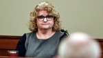 In this Feb. 14, 2020, file photo, former Michigan State gymnastics coach Kathie Klages testifies in Lansing, Mich. (Matthew Dae Smith/Lansing State Journal via AP, File)