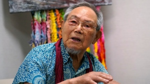Lee Jong-keun speaks his experience of atomic bombing during an interview with The Associated Press in Hiroshima, western Japan Tuesday, Aug. 4, 2020. (AP Photo/Eugene Hoshiko)