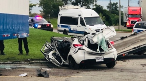 Two men were seriously injured in a Saint-Laurent car accident early Tuesday morning.