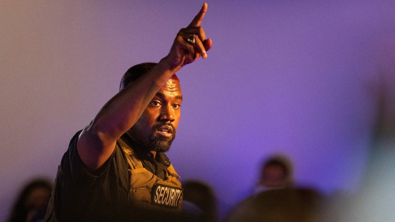 Kanye West makes his first presidential campaign appearance, on July 19, 2020. (Lauren Petracca Ipetracca / The Post And Courier via AP)