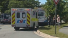 Paramedics respond to the scene of a collision in Halifax on Aug. 4, 2020, after a woman was struck by a bus.