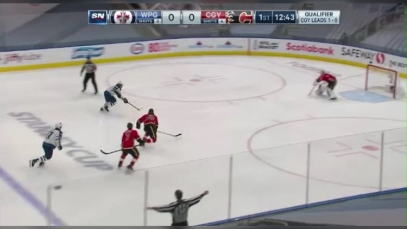 The Winnipeg Jets beat the Calgary Flames in Game 2 of the qualifying series on Aug. 3, 2020.