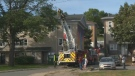 Crews respond to a fire in the Mulgrave Park community of Halifax on Aug. 4, 2020.