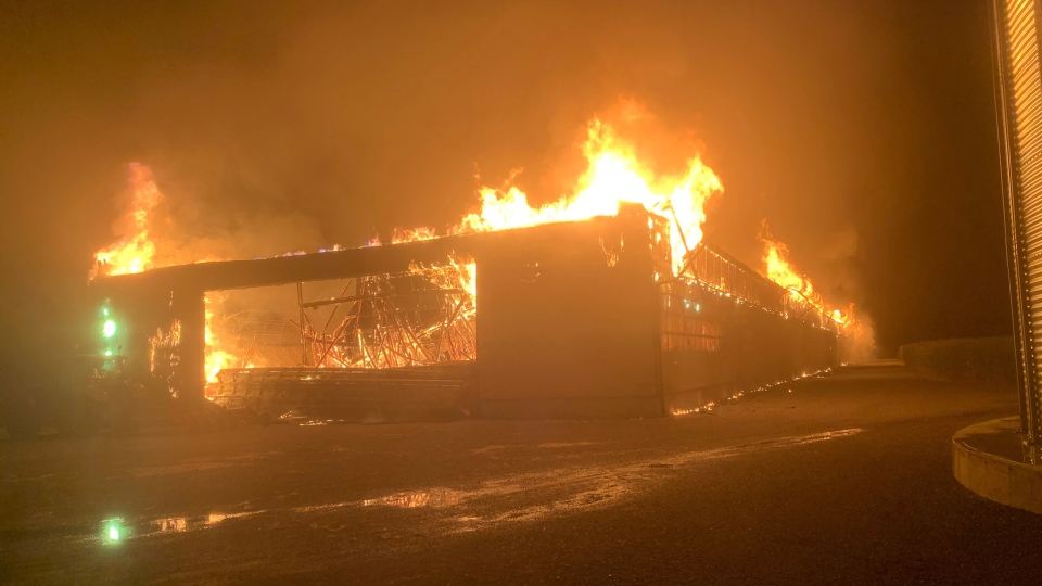 An overnight fire has destroyed a hay barn in Malahide, Ont., Tuesday, Aug. 4, 2020. (Source: Malahide Fire Department)