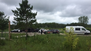 Police work at the scene of a homicide on Kettle and Stony Point First Nation Territory near Sarnia, Ont. on Tuesday, Aug. 4, 2020. (Bryan Bicknell / CTV News)