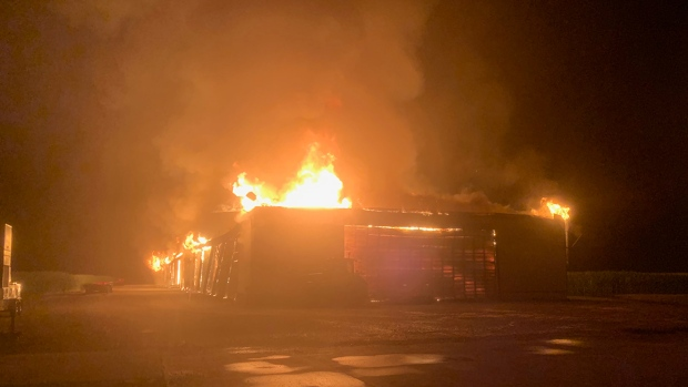 A fire has gutted a hay barn in Malahide Township, Ont., Tuesday, Aug. 4, 2020. (Source: Malahide Fire Department)