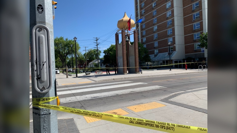 Selkirk Avenue was closed between McGregor and Salter Streets after Winnipeg police respond to a serious incident Tuesday morning. (CTV News Photo/Jamie Dowsett)