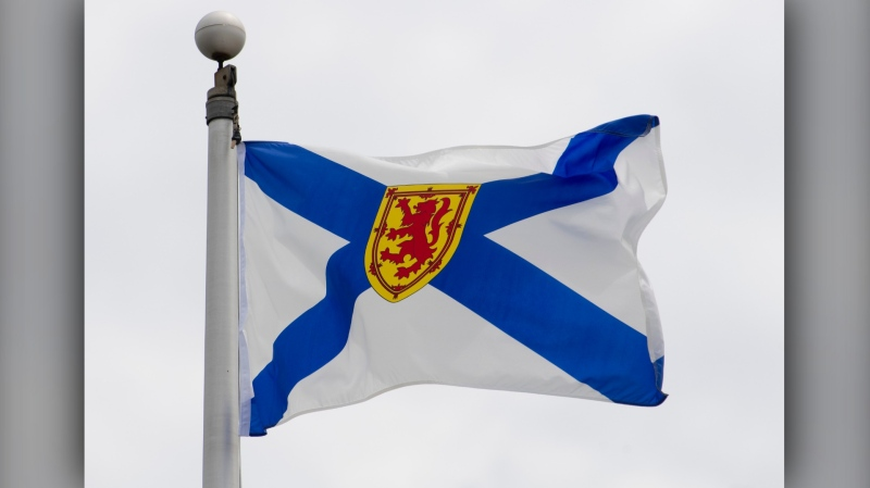 Nova Scotia's provincial flag flies on a flag pole in Ottawa, Friday July 3, 2020. The Nova Scotia Health Authority says a pair of security breaches have affected the health information of 211 people.THE CANADIAN PRESS/Adrian Wyld