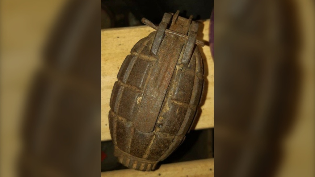 North Bay police discover rusty hand grenade