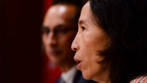 Chief Public Health Officer Dr. Theresa Tam and Dr. Howard Njoo, Deputy Chief Public Health Officer, hold a press conference in Ottawa on Tuesday, Aug. 4, 2020. THE CANADIAN PRESS/Sean Kilpatrick