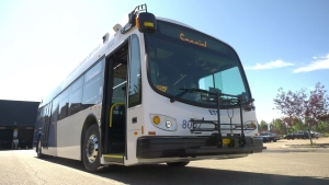 Edmonton's first battery-electric bus rolled into service Tuesday. Aug. 4, 2020. (Jay Rosove/CTV News Edmonton)