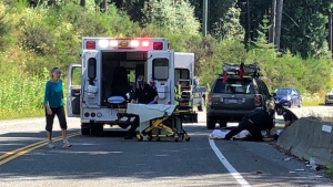 The Courtenay Fire Department says the crash happened around 10 a.m. on the Strathcona Parkway. (CTV News)