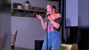Sarah Jane Martin performing her stand-up routine in her first performance since the pandemic. (Source: Sarah Jane Martin)