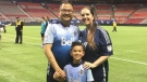 Allen Leung, the Whitecaps FC manager of ticket operations, is searching for a kidney donor and went public with is request in August 2020. He's seen here with his wife Melodie and son Trevor. (Whitecaps FC)