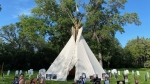 The Walking with our Angels tipi was erected on the Saskatchewan legislature grounds. The protest ended Sept. 13, 2020. (CTV Regina)