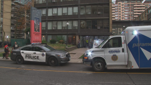 Toronto police say the stabbing happened in the lobby of a residential building near Yonge Street and Broadway Avenue Tuesday night.
