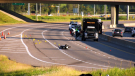 A crash on the Deerfoot between two motorcycles Tuesday sent one person to hospital in critical condition.
