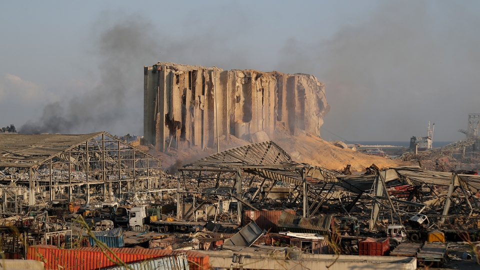 A damage is seen after a massive explosion in Beirut, Lebanon, Wednesday, Aug. 5, 2020. The explosion flattened much of a port and damaged buildings across Beirut, sending a giant mushroom cloud into the sky. In addition to those who died, more than 3,000 other people were injured, with bodies buried in the rubble, officials said.(AP Photo/Hassan Ammar)