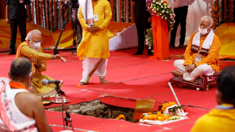 Indian Prime Minister Narendra Modi performs the groundbreaking ceremony of a temple dedicated to the Hindu god Ram, in Ayodhya, India, on Aug. 5, 2020. (Rajesh Kumar Singh / AP)