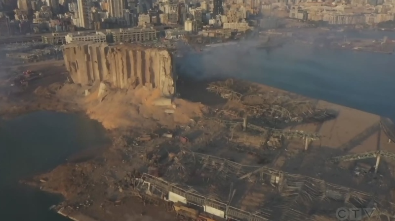 Aerials of Beirut explosion aftermath