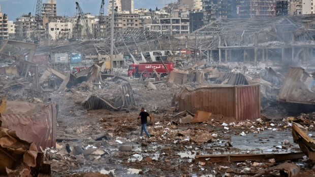 The scene of the massive explosion near the the port in the Lebanese capital Beirut. (AFP)