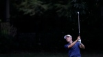 Jordan Spieth hits to the ninth fairway during the third round of the Memorial golf tournament in Dublin, Ohio, on July 18, 2020. (Darron Cummings / AP)