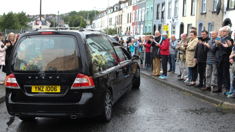 The funeral cortege of the former Northern Ireland lawmaker and Nobel Peace Prize winner John Hume in Londonderry, Northern Ireland, on Aug. 5, 2020. (Peter Morrison / AP)