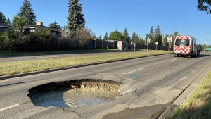A sinkhole has resulted in the closure of a road in southwest Calgary Wednesday.
