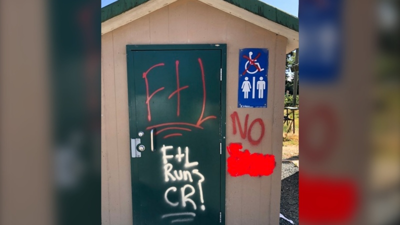 The graffiti taggers painted the Nunns Creek Park playground and bathrooms with sexually explicit images, racially and sexually discriminatory phrases, according to police. (RCMP)