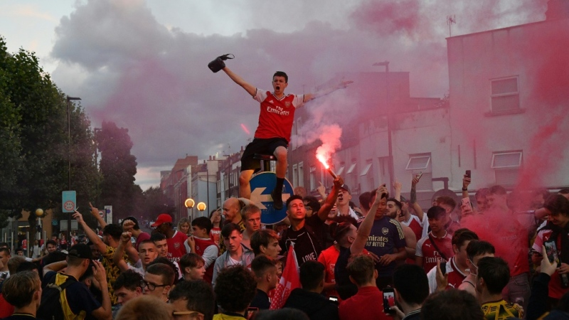 Even with the stadium closed, Arsenal fans celebrated outside the Emirates stadium in north London when their team won the English FA Cup earlier this month. (AFP)