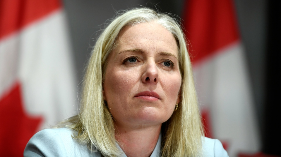 Minister of Infrastructure and Communities Catherine McKenna listens during a news conference in West Block on Parliament Hill in Ottawa, on Monday, June 1, 2020. THE CANADIAN PRESS/Justin Tang