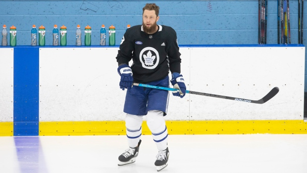 Toronto Maple Leafs defenceman Jake Muzzin attends a practice session in Toronto on Saturday July 25 2020. THE CANADIAN PRESS/Chris Young