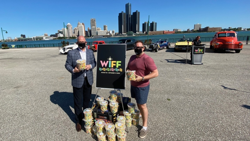 Windsor Mayor Drew Dilkens and WIFF executive director Vincent Georgie at Riverfront Festival Plaza in Windsor, Ont., on Wednesday, Aug. 5, 2020. (Courtesy Drew Dilkens / Twitter)