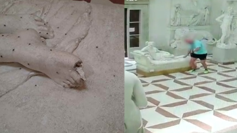 Italian authorities say a tourist turned himself to the police after he snapped two toes off a 200-year-old statue while visiting a museum.