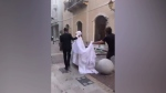 Wedding photoshoot interrupted by Beirut explosion