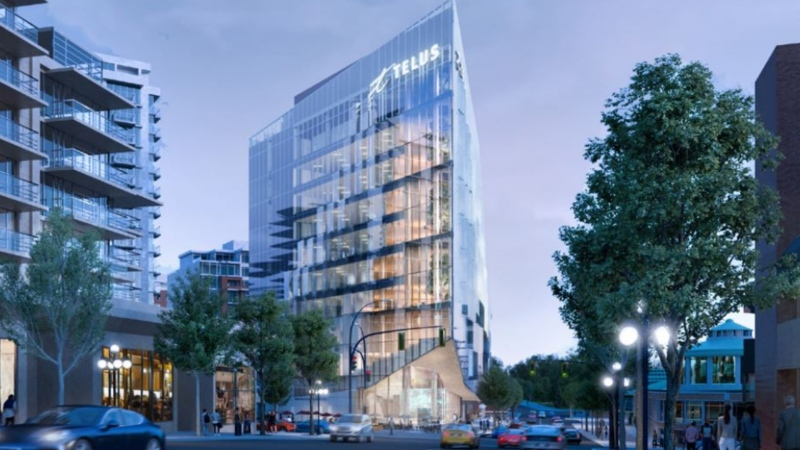 The Telus Ocean building at the corner of Humboldt Street and Douglas Street is expected to span 11 storeys of office and retail space on the triangular lot currently occupied by two car rental companies. (Telus/Diamond Schmitt)