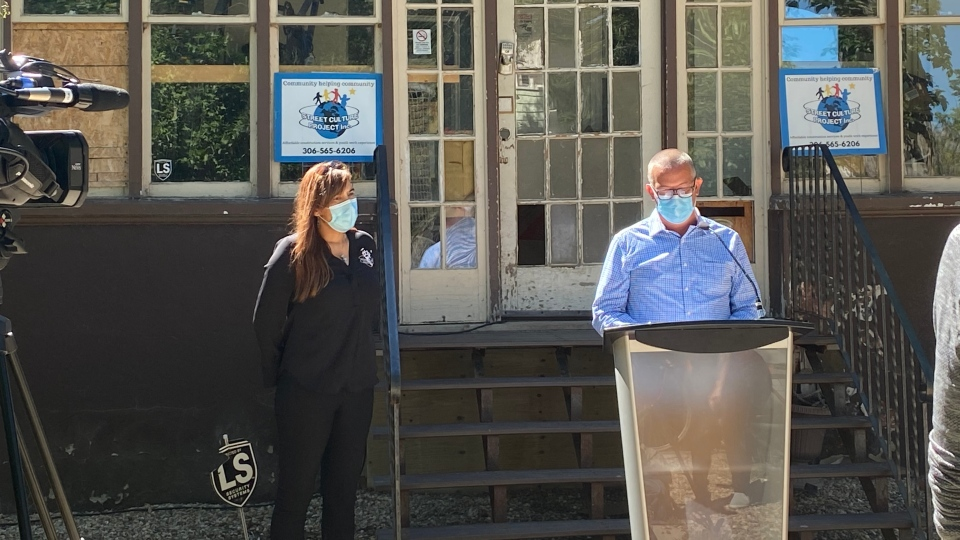 Joey Tremblay, co-chair of the board of the Street Culture Project spoke to media on Wednesday. (Wayne Mantyka / CTV News Regina)