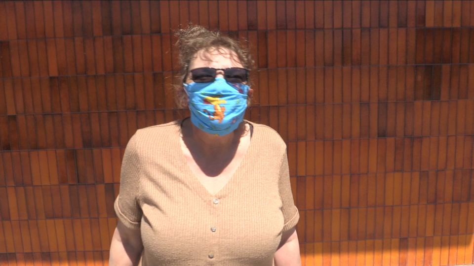 Aylmer, Ont. resident April La Roche says she doesn't mind wearing a mask and has been already doing so before a mask bylaw was passed in Elgin County. (Bryan Bicknell / CTV London)
