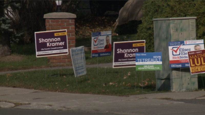 File photo of municipal election signs from the 2018 election in Ottawa.